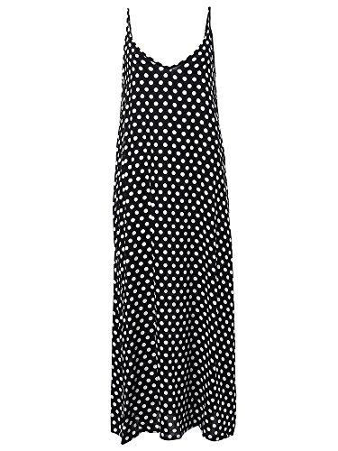 Minetom Mujeres Casual Elegante Lunares Vestido Suelto Largo Playa Cuello V Sin Mangas Boho Maxi Dress Negro