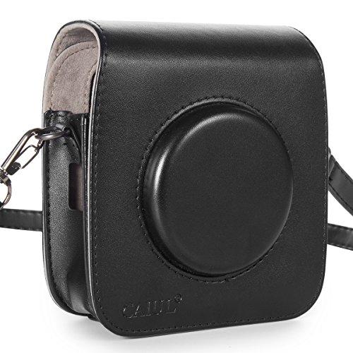 CAIUL Compatible Vintage PU Leather Square Case Bag for Fujifilm Instax Square SQ10 Instant Camera (Black)