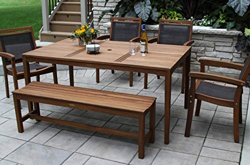 - Patio Dining Set. Contemporary, Outdoor, Medium Furniture Kit Of Natural Wood For Porch, Deck, Lawn, Pool, Garden, Balcony Diner, 6 Person. Outside, Rectangle Table, Stackable, Sling Arm Chairs, Bench