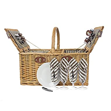Zelancio 4 Person Square Picnic Basket Set With Insulated Cooler Insert Large Service for Four
