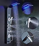 buy cool shower heads ELLO&ALLO Stainless Steel Shower Panel Tower System,LED Rainfall Waterfall Shower Head 6-Function Faucet Rain Massage System with Body Jets Fingerprint-free, Black