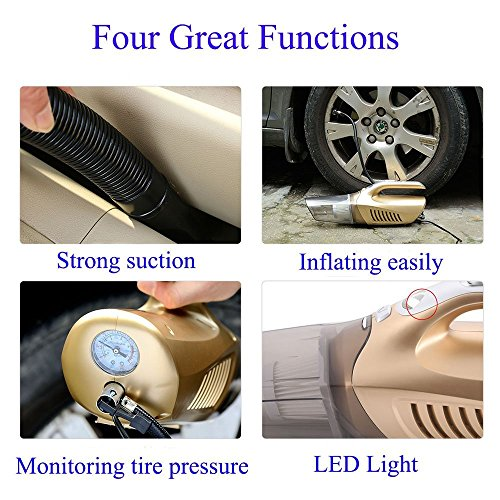 Handheld Car Vacuum Cleaner, NUWA Mini Auto Wet/Dry Vehicle Vacuum Dust Collector 12V 100W 4 in 1 Multifunctional Lightweight Hand Vac with Tire Inflator/ Tire Pressure Gauge/ Led Light(Blue) by NUWA (Image #3)