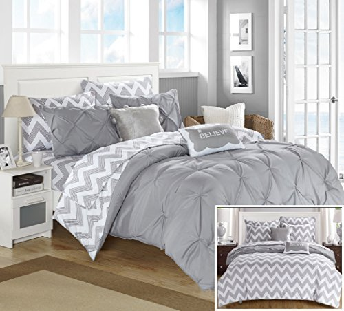 Chic Home 7 Piece Louisville Pinch Pleated and Ruffled Chevron Print Reversible Bed In a Bag Comforter Set Sheets, Twin X-Large, Grey (Bed Chevron Grey Set)