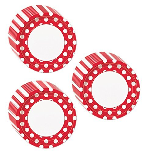 Red Polka Dot Dinner Plates - 24 Pieces -