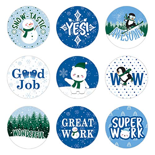 Teacher Reward Stickers for Kids (Winter Theme) - 1,080 Stickers