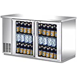 UBB-24-60GS 60 Narrow Glass Door Stainless Steel Back Bar Cooler with LED Lighting
