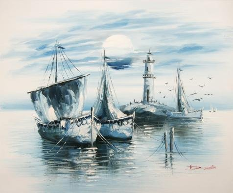 Trio Gull Sea (The High Quality Polyster Canvas Of Oil Painting 'Canvas Print In Blue Ink Of Boats, Sea Gulls, Lighthouse And Sun' ,size: 18x22 Inch / 46x55 Cm ,this Replica Art DecorativePrints On Canvas Is Fit For Home Theater Decoration And Home Decoration And Gifts)