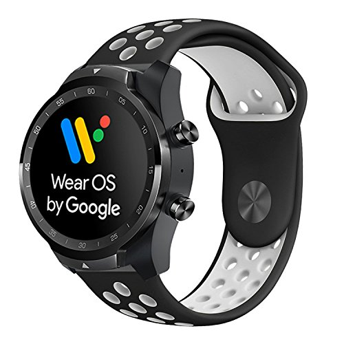 for TicWatch Pro Band, Lamshaw Silicone Sport Band with Ventilation Holes Replacement Straps for TicWatch Pro/TicWatch S2 / TicWatch E2 Smartwatch Band (Black+White)