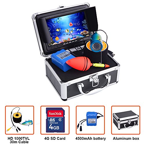 Portable Fish Finder Underwater Fishing Camera System Kit Video Recording Edition DVR 7″ Monitor LCD HD 1000TVL IP68 30m Cable 4500mAh Rechargeable Battery Night Version for Ice,Lake and Boat Fishing