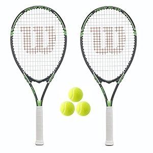 2 x Wilson Tour Tennis Rackets and 3 Tennis Balls