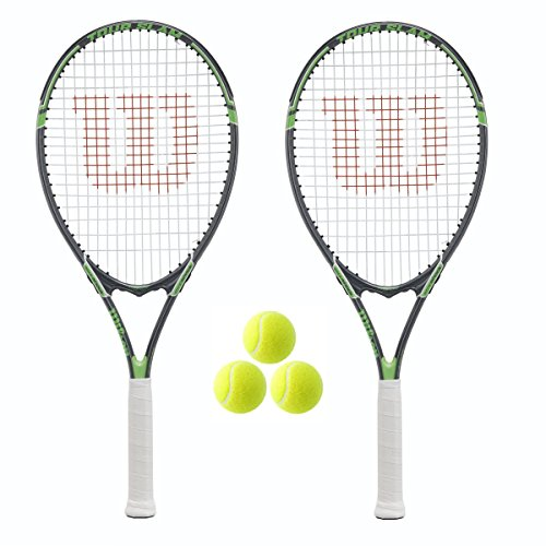 2 x Wilson Tour Tennis Rackets and 3 Tennis Balls