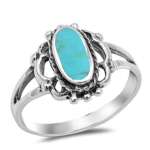 - Filigree Oval Simulated Turquoise Long Beaded Ring New 925 Sterling Silver Band Size 10