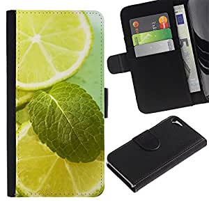 LASTONE PHONE CASE / Lujo Billetera de Cuero Caso del tirón Titular de la tarjeta Flip Carcasa Funda para Apple Iphone 5 / 5S / Fruit Macro Lime & Mint