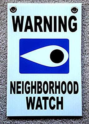 "1 Pcs Lavish Unique Warning Neighborhood Watch Sign Board Video Hr Surveillance Reflective Decals Security Protect Poster House Trespassing Lawn Pole Under Cameras Protected Size 8""x12"" w/ Grommets"