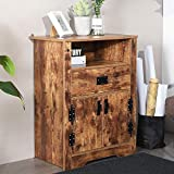 Cheap Aingoo Rustic Vintage Cabinet Storage 32IN Height Two Door + Drawer Vintage Night Stand Bedside Table Home Living Room Organizer Accent Table