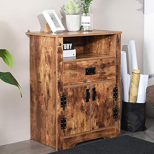 Aingoo Rustic Vintage Storage Cabinet 32IN Height Two Door + Drawer Vintage Night Stand Bedside Table for Home Living Room Organizer Accent Table