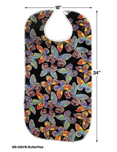 RMS 3 Pack Adult Bib Washable Reusable Waterproof Clothing Protector with Vinyl Backing 34''X18'' (Butterfly/Blue Rose/Heritage) by RMS Royal Medical Solutions, Inc. (Image #2)