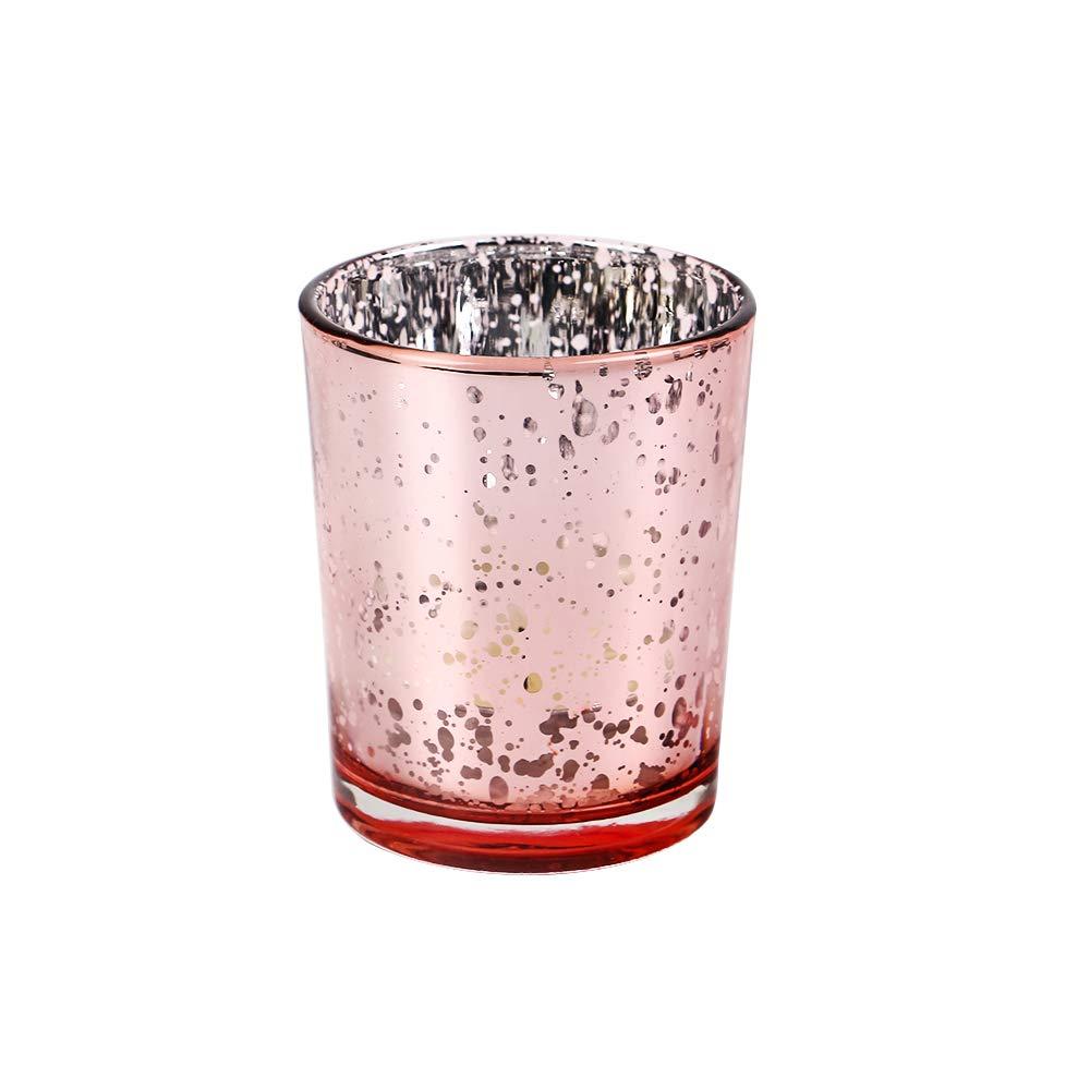 Excellent Designs Mercury Glass Votive Candle Holder – 2.1'' W 2.6'' H (12pcs) – Ideal Decorative Tealight Candles Holders for Weddings, Parties, Festivals, Home Décor, Restaurants or Caterers – Blush