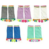 Wrapables Colorful Five Toe Socks Set of 5, Grey/Purple/White/Blue/Green