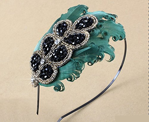 Leiothrix Elegant Green Feather Hair Accessories Hair Band with Crystal for Women & Girls Apply to Party Birthday Weding Photograph (For Feathers Hair Kids)