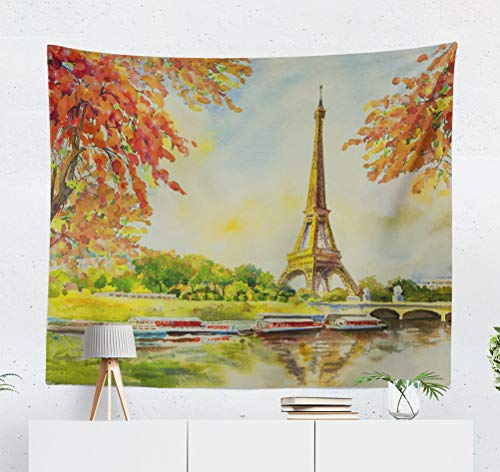 KJONG Paris European City Landscape France Eiffel Tower Famous with Romantic River Decorative Tapestry,50X60 Inches Wall Hanging Tapestry for Bedroom Living Room ()