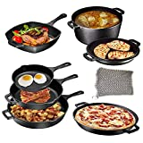 Pre Seasoned Cast Iron 8 Piece Bundle Camping Gift Set, Double Dutch, 16 inch Pizza Pan, 3 Skillets & Square Grill Pan, Camping Cookware Set