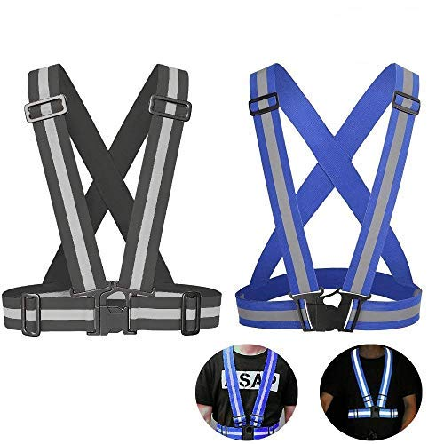 Safety Reflective Vest with Adjustable Strap for Running, Cycling, Motorcycle and Walking, Fits over Outdoor Clothing, Breathable Waterproof Lightweight and 360°High Visibility Design(2 Pack)