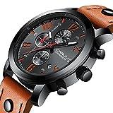 Men's Watch Business Quartz Orange Casual Chronograph Fashion Date Wrist Watches Waterproof Unique Leather Watch