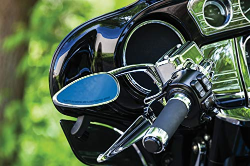 Kuryakyn 1707 Motorcycle Handlebar Accessory: Teardrop Rear View Side Mirrors for 2004-19 Harley-Davidson Motorcycles, Chrome, 1 Pair