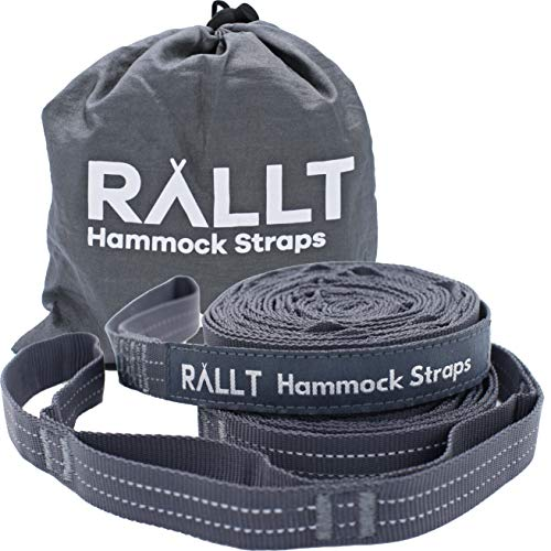 Rallt Hammock Tree Straps - 2000+ LB Breaking Strength, 20 Feet Long, 36 Loops. 100% No Stretch Polyester Adjustable Suspension Kit Like Python and ENO Atlas Straps