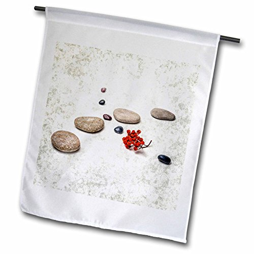 3dRose Alexis Photography - Objects Zen - Intersection of stones and pebbles, cluster of red rowan berries. Zen - 18 x 27 inch Garden Flag (fl_265666_2)