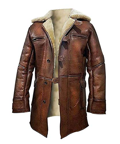 Lambskin Patched Leather - Tom Hardy Distressed Brown Lambskin Leather Shearling Dark Knight Rises Bane Jacket Coat (X-Large, Lambskin Leather)