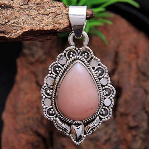 Peruvian Pink Opal Gemstone Pendant 5.6 Gms 925 Sterling Silver Jewelry 1.5