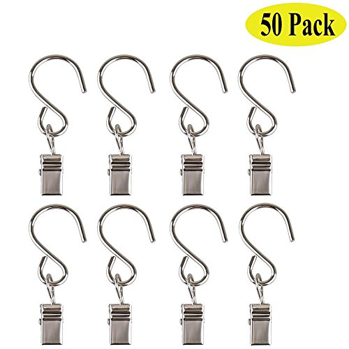 50 Pack Stainless Steel Curtain Clip Shower Rings