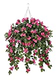 Artificial Mini Pink Bougainvillea in Square Hanging Basket