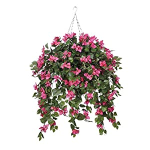 House of Silk Flowers Artificial Mini Pink Bougainvillea in Square Hanging Basket 66
