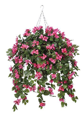 Artificial Mini Pink Bougainvillea in Square Hanging Basket by House of Silk Flowers