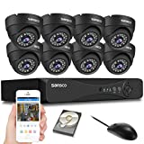 SANSCO Pro CCTV Security Camera System with 8-Channel 1080P DVR, 8 Dome Cameras (All HD 1080P 2MP), 2TB Internal Hard Drive Disk 24/7 Or Motion Recording- All-in-One Wired Surveillance Cameras Kit