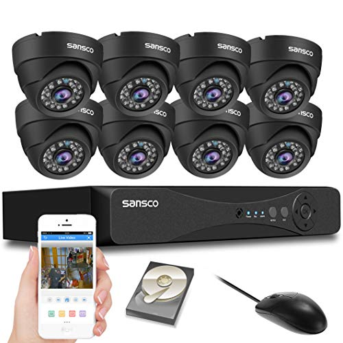 SANSCO Pro CCTV Security Camera System with 8-Channel 1080P DVR, 8 Dome Cameras (All HD 1080P 2MP), 2TB Internal Hard Drive Disk 24/7 Or Motion Recording- All-in-One Wired Surveillance Cameras Kit ()