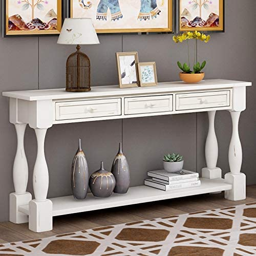 64 Long Console Table Sofa Table with Drawers and Bottom Shelf for Entryway, Side Table for Entryway, Hallway, Living Room, Easy Assembly Antique White