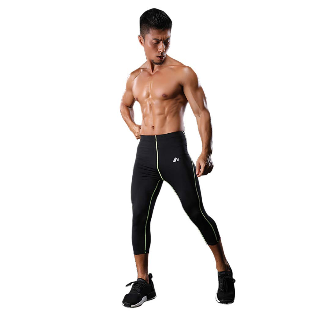 HOUSINGLOVES Mens Sports Leggings Pants Weight Loss Sauna Shorts Body Shaper Athletic Cropped Trousers Gym Outdoor