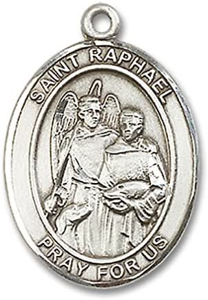 Heartland Men's Sterling Silver Saint Raphael The Archangel Oval Medal USA Made