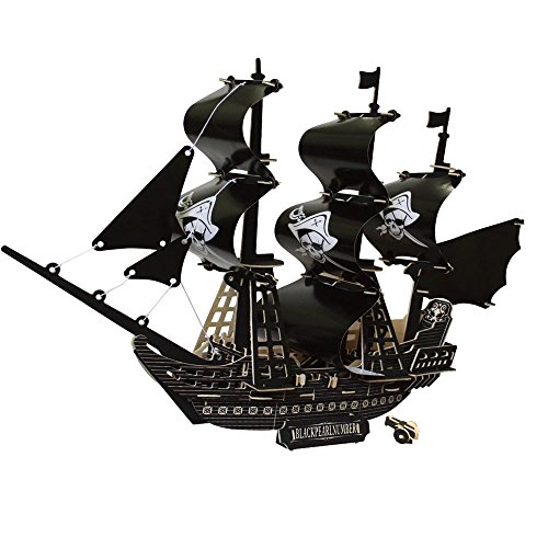 3D Wooden Puzzle, Building Jigsaw Toy Kit Hobby Decorative Ship Model Children Best Birthday Gifts (Pirate - To Wooden Build Kits Boats Model
