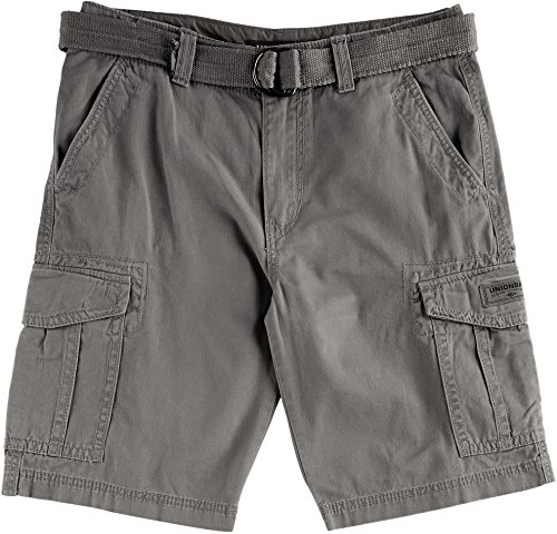 UNIONBAY Men's Classic Belted Vintage Twill Relaxed Fit Cargo Short, Grey Goose, 40