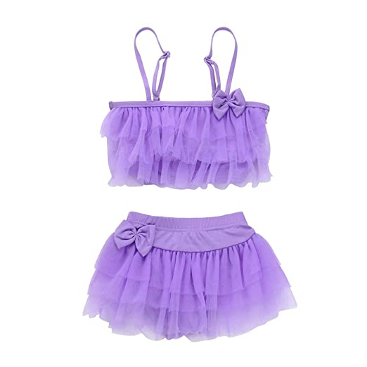 8944dd8ecdc3 Amazon.com  Goodlock Toddler Kids Fashion Swimsuits Baby Girl Striped Gauze  Swimsuits Straps Bow Romper Bathing Outfit (Purple)  Clothing