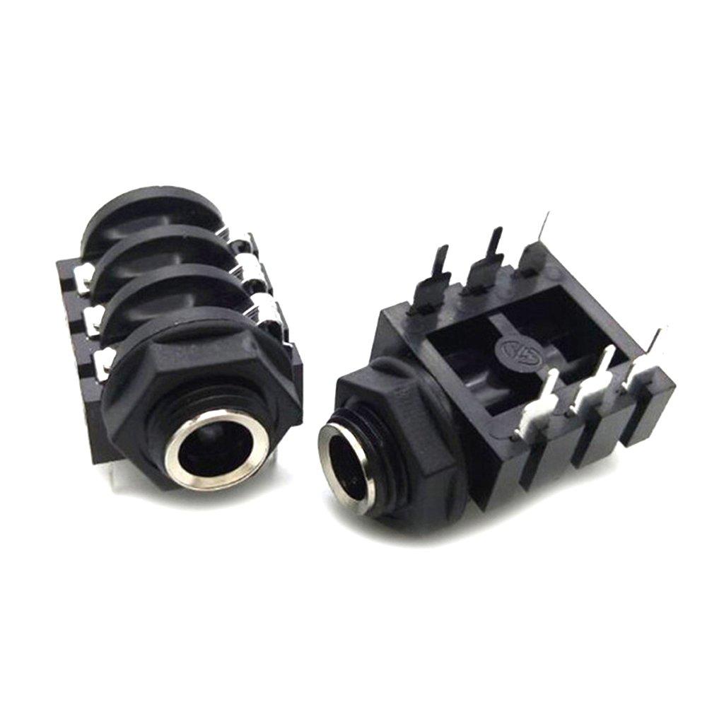 hogadget 2個6.35 MM / 6.5 MM 6ピンDipステレオデュアルチャネルマイクソケットTurtleスタイルオーディオストレートジャック B07BJ13NX2