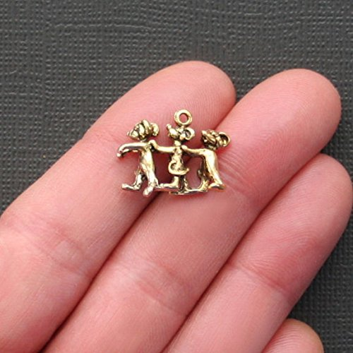 Mice Charm Three Blind (5 Three Blind Mice Charms Antique Gold Tone Just Adorable 3D - GC150 Jewelry Making Supply Pendant Bracelet DIY Crafting by Wholesale Charms)