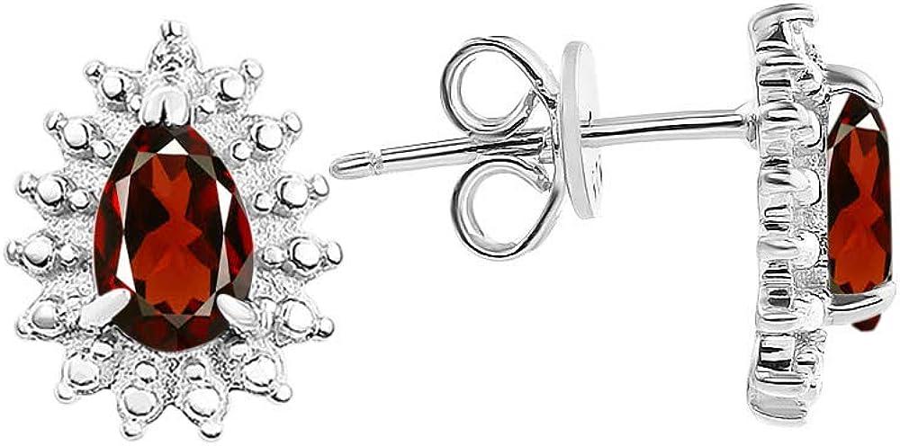 RYLOS Pendientes de halo con piedra preciosa ovalada y diamantes brillantes genuinos en oro blanco de 14 quilates – 6 x 4 mm Color piedra natal pendientes