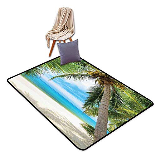 - Oversized Floor Rug Ocean Decor Shadow Shade of a Coconut Palm Tree on White Sand Breathability W63 xL102 Decorative