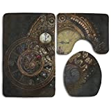 HOMESTORES Steampunk Clocks.jpeg Bath Mat Bathroom Carpet Rug Washable Non-Slip 3 Piece Bathroom Mat Set